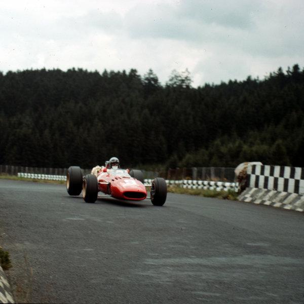 Nurburgring, Germany.5-7 August 1966.Lorenzo Bandini (Ferrari 312) 6th position.Ref-3/2313.World Copyright - LAT Photographic