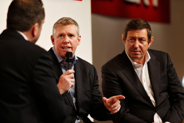 Autosport International Exhibition.  National Exhibition Centre, Birmingham, UK. Thursday 14 January 2016.  World Endurance Championship boss Gerard Neveu and Silverstone's Patrick Allen talk to Henry Hope-Frost on the Autosport stage. World Copyright: Sam Bloxham/LAT Photographic. ref: Digital Image _SBL5586