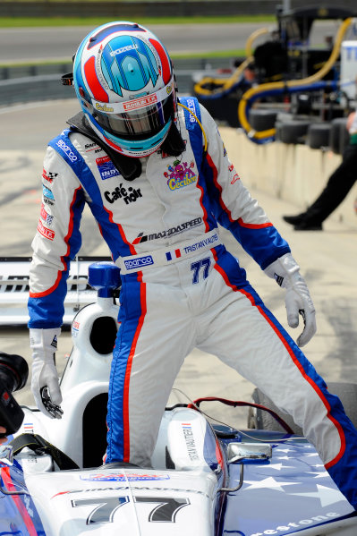 30 March - 1 April, 2012, Birmingham, Alabama USATristan Vautier (#77) climbs from his car.(c)2012, F. Peirce WilliamsLAT Photo USA