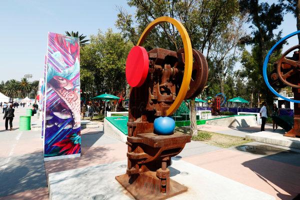 Autodromo Hermanos Rodriguez, Mexico City, Mexico. Sunday 29 October 2017. Sculptures at the Autodromo Hermanos Rodriguez. World Copyright: Sam Bloxham/LAT Images  ref: Digital Image _W6I0535