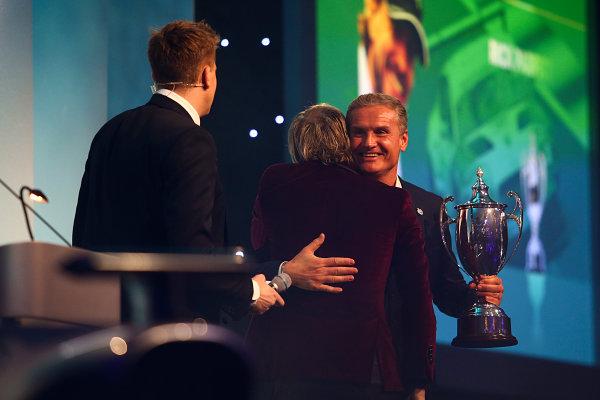 2017 British Racing Drivers Club Awards. London Hilton Hotel, Park Lane, London. Monday 4th December 2017. Jake Humphrey, Rick Parfitt Jnr and David Coulthard. World Copyright: Jakob Ebrey / LAT Images. Ref: Parfitt-06