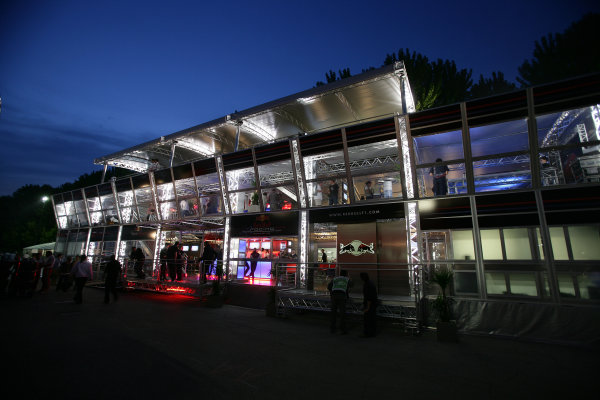 2006 San Marino Grand Prix - Thursday Preview Imola, Italy. 20th - 23rd April 2006 The Red Bull Racing motorhome in the paddock at night, atmosphere. World Copyright: Michael Cooper / LAT Photographic   ref: Digital Image VI5L4909