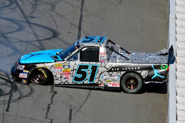 October 25-26, 2013, Martinsville, Virginia USA Denny Hamlin spins and hits wall © 2013, Brian Czobat LAT Photo USA