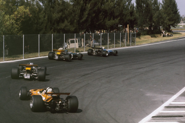 1969 Mexican Grand Prix.  Mexico City, Mexico. 17-19th October 1969.  Jackie Stewart, Matra MS80 Ford, leads Jacky Ickx, Brabham BT26A Ford, Jack Brabham, Brabham BT26A Ford, and Denny Hulme, McLaren M7A Ford.  Ref: 69MEX01. World Copyright: LAT Photographic