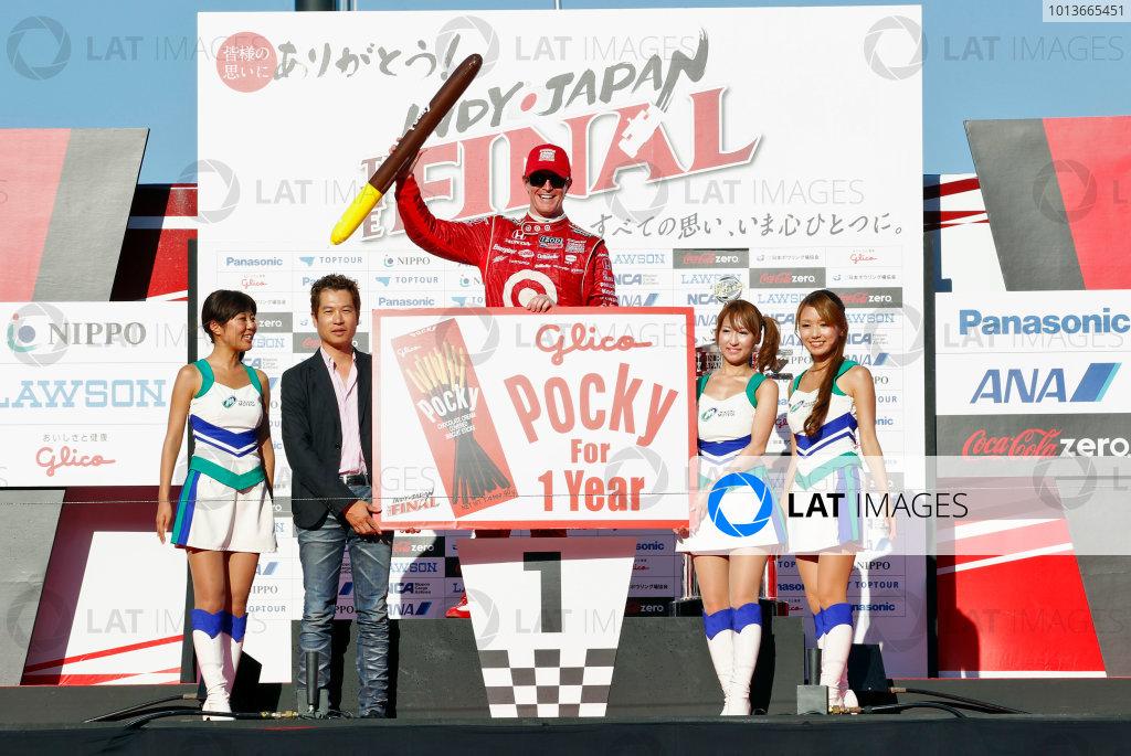 15-18 September, 2011, Twin Ring Motegi JapanScott Dixon receives the gift of Pocky for one year.(c)2011, Phillip AbbottLAT Photo USA