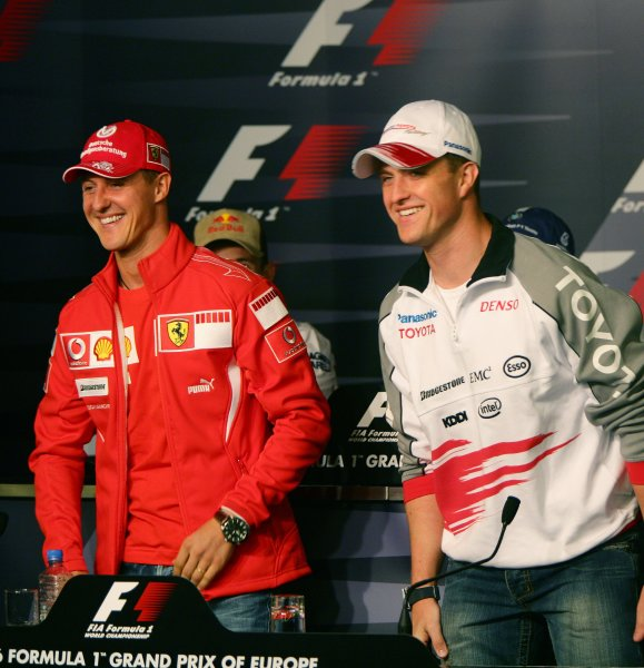 2006 European Grand Prix - Thursday Preview,  Nurburgring, Germany. Michael Schumacher, Ferrari 248 F1 and Ralf Schumacher, Toyota TF106 in the press conference. Portrait. 4th May 2006  World Copyright: Steve Etherington/LAT Photographic ref: 48mb Hi Res Digital Image Only