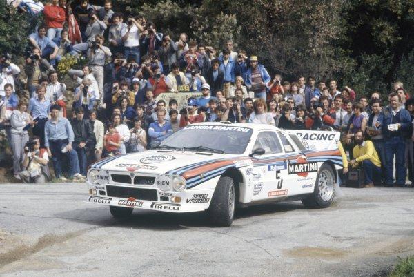 1984 World Rally Championship.Tour de Corse/Rallye de France, Corsica, France. 3-5 May 1984.Markku Alen/Ilkka Kivimaki (Lancia Rally 037), 1st position.World Copyright: LAT PhotographicRef: 35mm transparency 84RALLY05