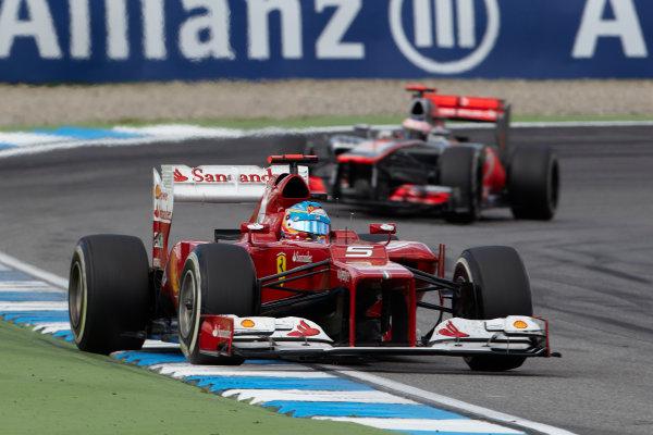Hockenheimring, Hockenheim, Germany 22nd July 2012 Fernando Alonso, Ferrari F2012 leads Jenson Button, McLaren MP4-27 Mercedes.  World Copyright: Steve Etherington/LAT Photographic ref: Digital Image HC5C5766 copy