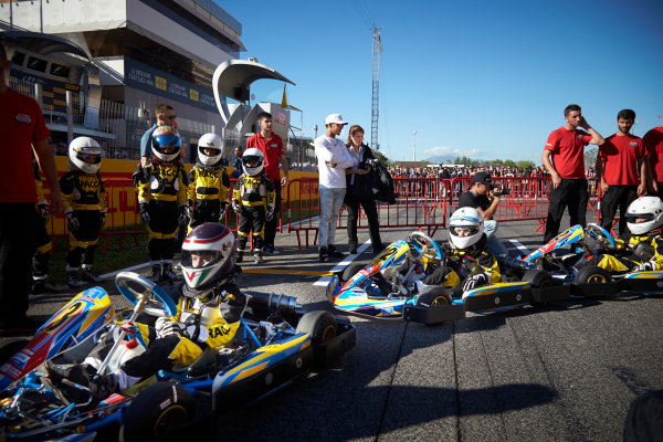 Circuit de Catalunya, Barcelona, Spain. Thursday 11 May 2017. Lewis Hamilton, Mercedes AMG, with young karters. World Copyright: Steve Etherington/LAT Images ref: Digital Image SNE15023