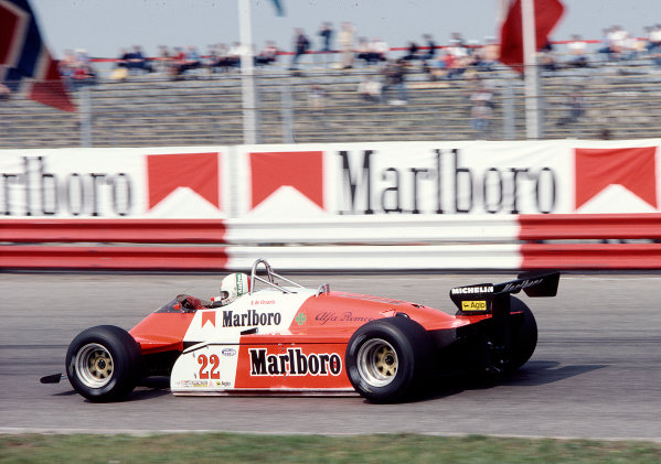 1982 Dutch Grand Prix.Zandvoort, Holland.1-3 July 1982.Andrea de Cesaris (Alfa Romeo 182).Ref-82 HOL 68.World Copyright - LAT Photographic