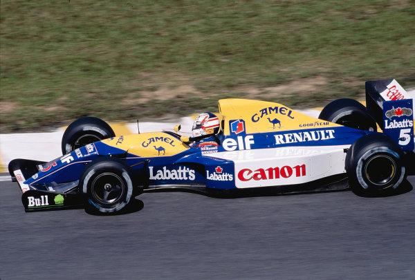 1992 Brazilian Grand Prix.Interlagos, Sao Paulo, Brazil. 3-5 April 1992.Nigel Mansell (Williams FW14B Renault) 1st position.Ref-92 BRA 19.World Copyright - LAT Photographic