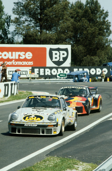 "Le Mans, France. 9th - 10th June 1979.Anny-Charlotte Verney/Patrick Bardinon/Rene Metge ( Porsche 934), 19th position, leads Jacques Guerin/""Chanaud""/Frederic Alliot (Porsche 935), 15th position, action. World Copyright: LAT Photographic.Ref: 79LM13."