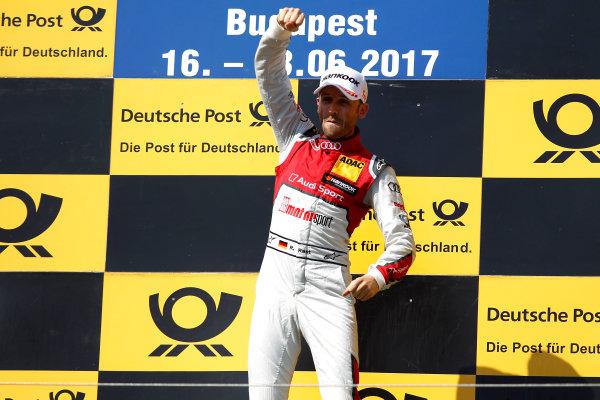 2017 DTM Round 3 Hungaroring, Budapest, Hungary. Sunday 18 June 2017. Podium: Race winner René Rast, Audi Sport Team Rosberg, Audi RS 5 DTM World Copyright: Alexander Trienitz/LAT Images ref: Digital Image 2017-DTM-R3-HUN-AT1-2715