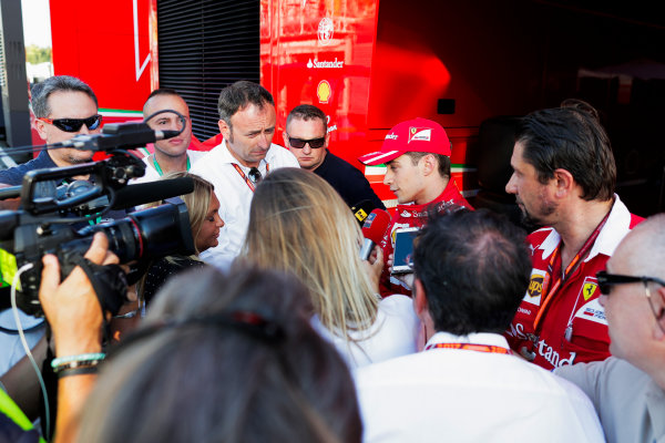 Hungaroring, Budapest, Hungary.  Tuesday 01 August 2017. Charles Leclerc, Ferrari, talking to press. World Copyright: Zak Mauger/LAT Images  ref: Digital Image _54I7698