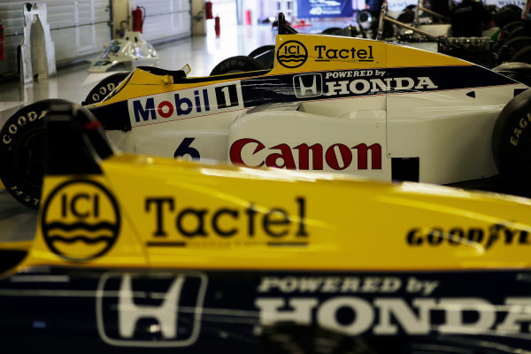 Williams 40 Event Silverstone, Northants, UK Friday 2 June 2017. A 1985 Keke Rosberg Williams FW10 Honda, to the right of its replacement, the FW11. World Copyright: Zak Mauger/LAT Images ref: Digital Image _54I9942