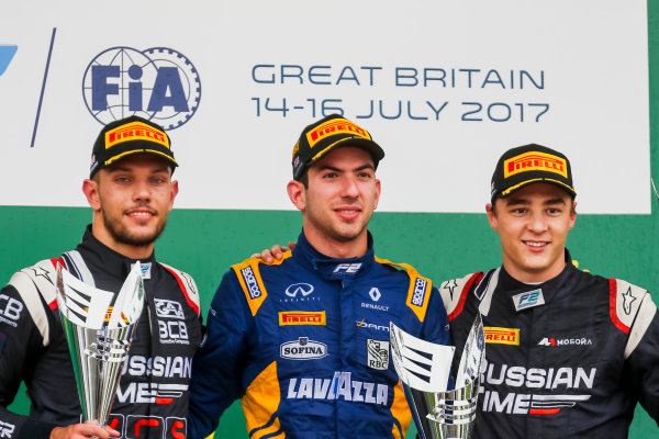 2017 FIA Formula 2 Round 6. Silverstone, Northamptonshire, UK. Sunday 16 July 2017. Luca Ghiotto (ITA, RUSSIAN TIME), Nicholas Latifi (CAN, DAMS), Artem Markelov (RUS, RUSSIAN TIME).  Photo: JEP/FIA Formula 2. ref: Digital Image AX7K2499