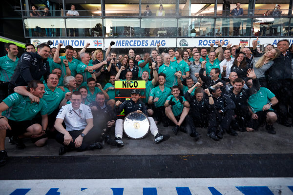 Albert Park, Melbourne, Australia. Sunday 16 March 2014. Nico Rosberg, Mercedes AMG, 1st Position, celebrates with his team after the race. World Copyright: Steve Etherington/LAT Photographic. ref: Digital Image SNE13853 copy