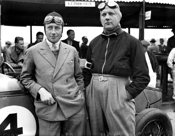 Brooklands, Great Britain.Brian Lewis (left) and John Cobb with Talbot 105 behind.Ref-Motor 801/129.World Copyright - LAT Photographic