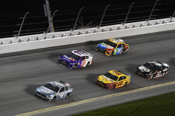 #4: Kevin Harvick, Stewart-Haas Racing, Ford Mustang Busch Light #TheCrew #11: Denny Hamlin, Joe Gibbs Racing, Toyota Camry  #22: Joey Logano, Team Penske, Ford Mustang Shell Pennzoil