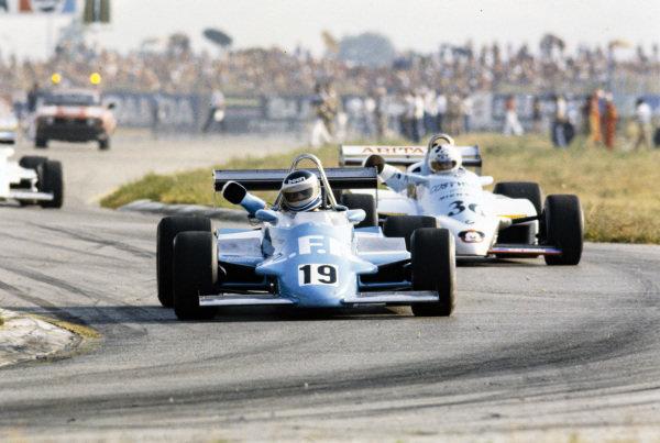 Aldo Bertuzzi, March 832 BMW/Heidegger, leads Fulvio Ballabio, AGS JH19 BMW/Mader.