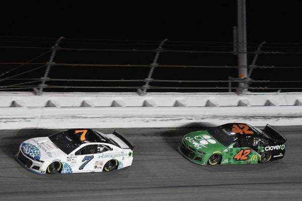 #7: Corey LaJoie, Spire Motorsports, Chevrolet Camaro Youtheory #42: Ross Chastain, Chip Ganassi Racing, Chevrolet Camaro Clover