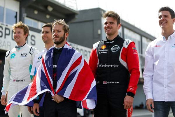 Sam Bird (GBR), Envision Virgin Racing, Oliver Turvey (GBR), NIO 333, Alexander Sims (GBR) BMW I Andretti Motorsports, Oliver Rowland (GBR), Nissan e.Dams. and James Calado (GBR), Panasonic Jaguar Racing