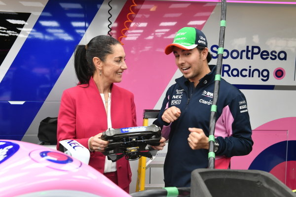 Sergio Perez, Racing Point and Claudia Sheinbaum the Mayor of Mexico City in the Racing Point garage