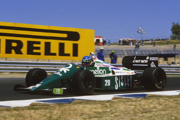 Jerez, Spain. 11-13 April 1986. Gerhard Berger (Benetton B186 BMW). Ref: 86 ESP 61. World Copyright - LAT Photographic