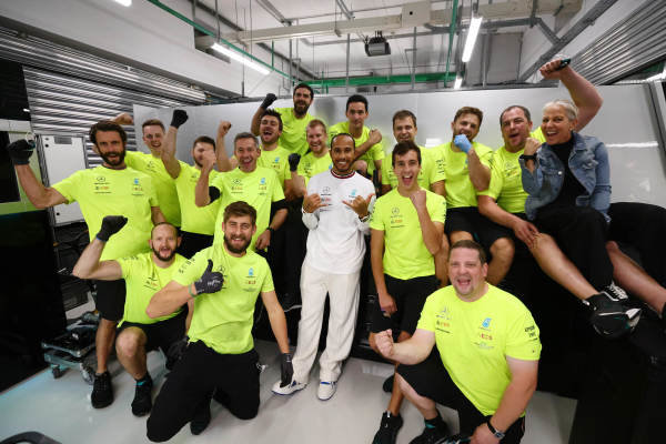 Sir Lewis Hamilton, Mercedes, 1st position, celebrates with his team after the race