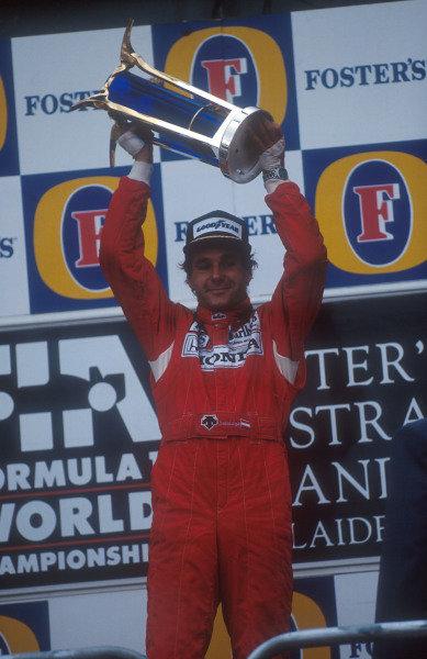 1992 Australian Grand Prix.Adelaide, Australia.6-8 November 1992.Gerhard Berger (McLaren Honda) 1st position on the podium.Ref-92 AUS 26.World Copyright - LAT Photographic
