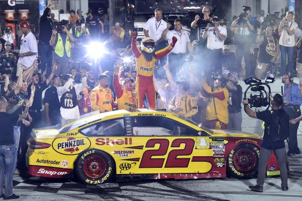 #22: Joey Logano, Team Penske, Ford Fusion Shell Pennzoil celebrates his championship win