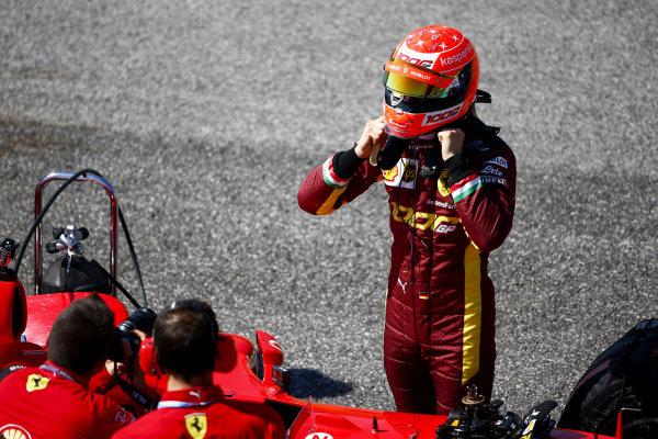 Mick Schumacher prepares to drive his father's championship winning Ferrari F2004