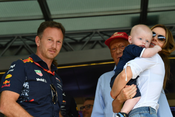Christian Horner (GBR) Red Bull Racing Team Principal and Geri Halliwell (GBR) with their son Montague George Hector Horner (GBR) at Formula One World Championship, Rd9, Austrian Grand Prix, Race, Spielberg, Austria, Sunday 9 July 2017.