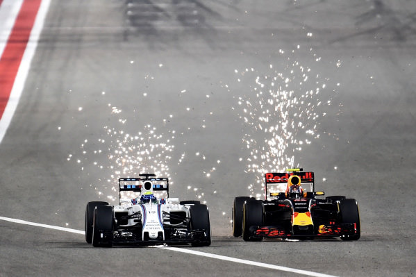 Felipe Massa (BRA) Williams FW38 and Daniil Kvyat (RUS) Red Bull Racing RB12 battle at Formula One World Championship, Rd2, Bahrain Grand Prix Race, Bahrain International Circuit, Sakhir, Bahrain, Sunday 3 April 2016. BEST IMAGE