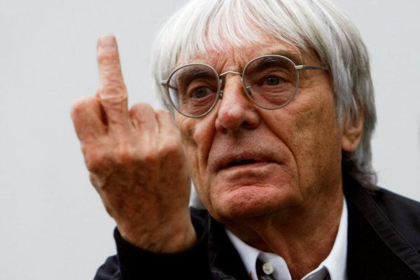 Interlagos, Sao Paulo, Brazil.16th October 2009.Bernie Ecclestone gives the finger in the paddock. Portrait.World Copyright: Charles Coates/LAT Photographicref: Digital Image _26Y9561b