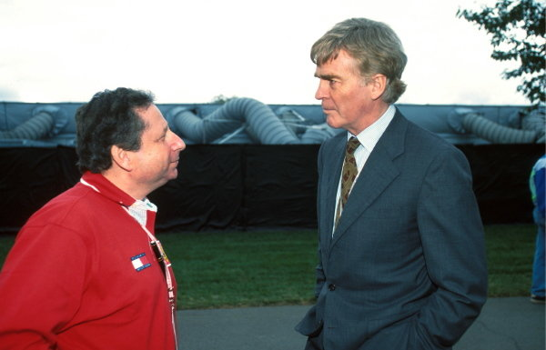 Jean Todt (FRA) Ferrari Sporting Director with FIA President Max Mosley (GBR) right Formula One World Championship, Rd1, Australian Grand Prix, Melbourne, Australia, 8 March 1998.