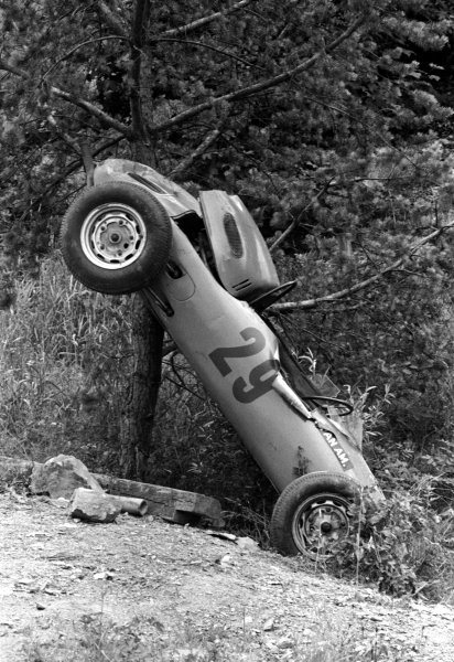Dutch aristocrat Carel Godin de Beaufort (NED) suffered critical injuries after he crashed his outdated Porsche 718 in qualifying at Bergwerk. He died the day following the race. German Grand Prix, Nurburgring, 2 August 1964.
