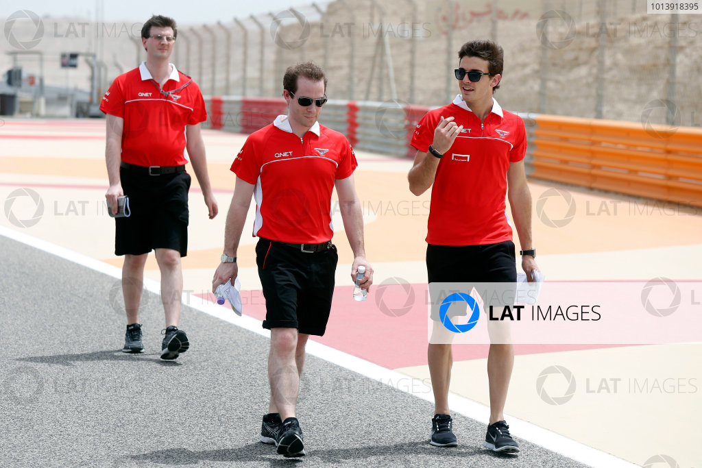 Bahrain International Circuit, Sakhir, Bahrain Thursday 18th April 2013 Jules Bianchi, Marussia, walks the track with Marussia team mates. World Copyright: Charles Coates/LAT Photographic ref: Digital Image _N7T7903