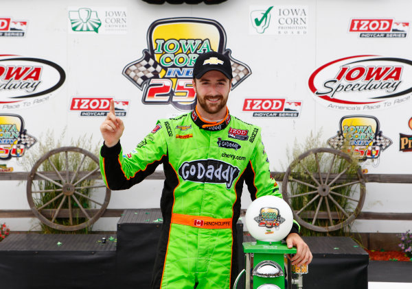 22-23 June, 2013, Newton, Iowa USA James Hinchcliffe celebrates in victory lane ©2013, Phillip Abbott LAT Photo USA