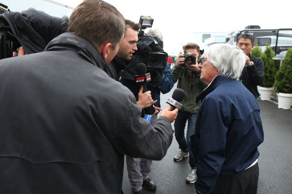 8th June 2013 Bernie Ecclestone, CEO, FOM, gives an interview World Copyright: Andy Hone/  ref: Digital Image HONZ9552