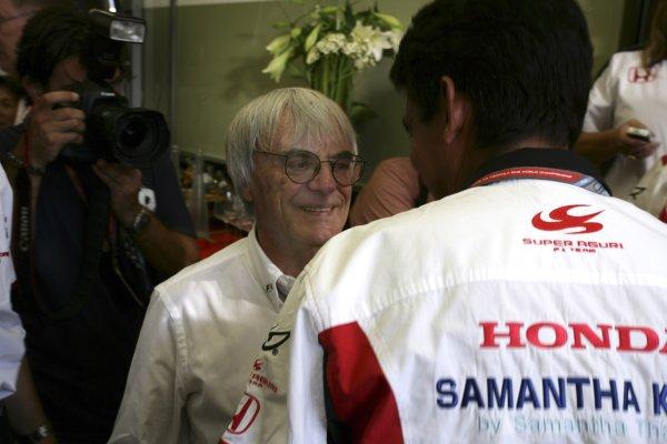 2006 German Grand Prix - Friday Practice Hockenheim, Germany. 27th - 30th July. Bernie Eccelstone and Aguri Suzuki, portrait. World Copyright: Charles Coates/LAT Photographic ref: Digital Image ZK5Y1052