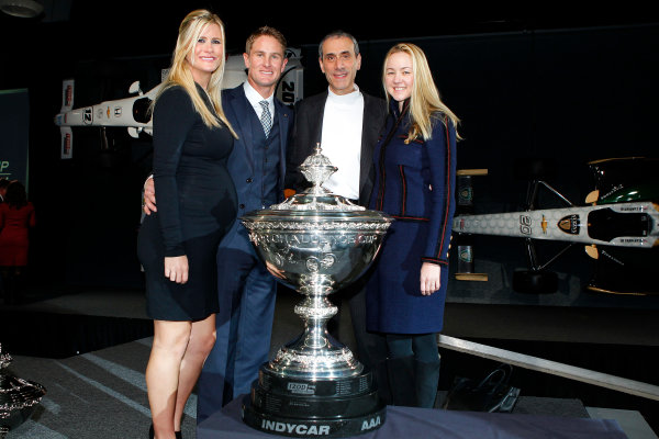 6 December, 2012, Indianapolis, Indiana USA Ryan Hunter-Reay with wife Beccy and friends and Astor Cup.(c)2012, Russell LaBounty LAT Photo USA .