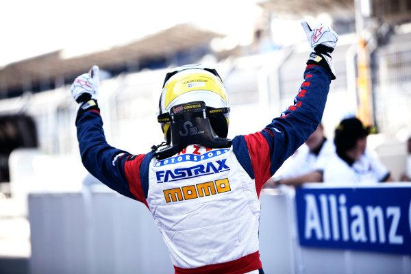 Round 3. Valencia, Spain. 27th June 2010.Sunday Race.Nico Muller, (Sui, Jenzer Motorsport) celebrates victory in parc ferme. Portrait. World Copyright: Drew Gibson/GP3 Media Service.Digital Image _Y8P9021