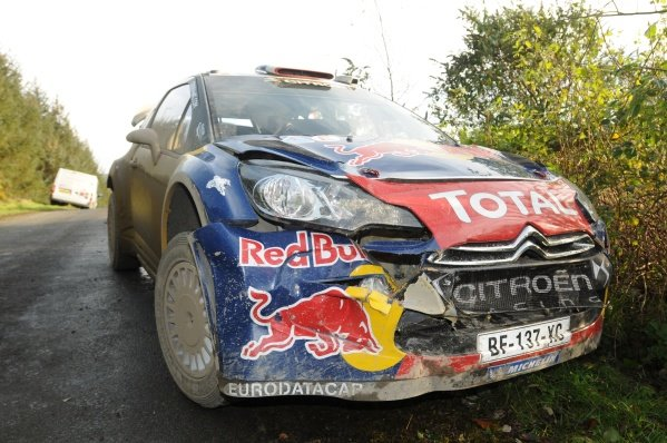 Citroen DS3 WRC of Sebastien Loeb (FRA) after stage 18, where he crashed with a spectator car.