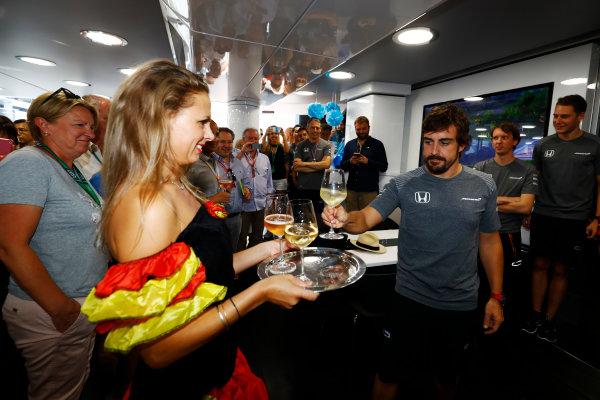 Hungaroring, Budapest, Hungary.  Saturday 29 July 2017. Fernando Alonso, McLaren, celebrates his birthday. World Copyright: Steven Tee/LAT Images  ref: Digital Image _R3I3576