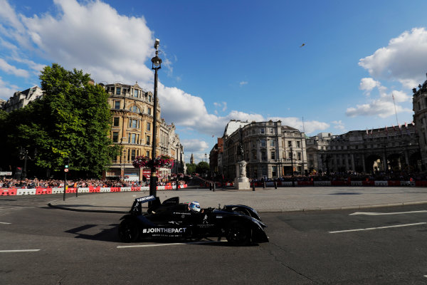London, United Kingdom.  Wednesday 12 July 2017. Mika Hakkinen takes somebody for a ride around the circuit. World Copyright: Zak Mauger/LAT Images  ref: Digital Image _56I5902