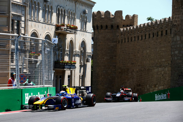 Baku City Circuit, Baku, Azerbaijan. Saturday 24 June 2017. Nicholas Latifi (CAN, DAMS) and Nyck De Vries (NED, Rapax)  World Copyright: Hone/LAT Images ref: Digital Image _ONY9605