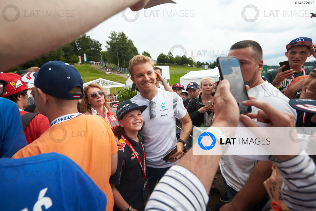 Red Bull Ring, Spielberg, Austria. Saturday 2 July 2016. Nico Rosberg, Mercedes AMG, meets some fans. World Copyright: Steve Etherington/LAT Photographic ref: Digital Image SNE26746