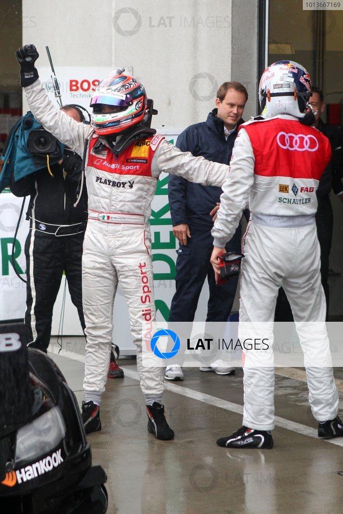 Edoardo Mortara (ITA), Audi Sport Team Rosberg, Playboy Audi A4 DTM (2008) celebrates third place with Martin Tomczyk (GER), Audi Sport Team Phoenix, Schaeffler Audi A4 DTM (2008) (2nd).DTM, Rd8, Oschersleben, Germany, 16-18 September 2011 Ref: Digital Image dne1118se541