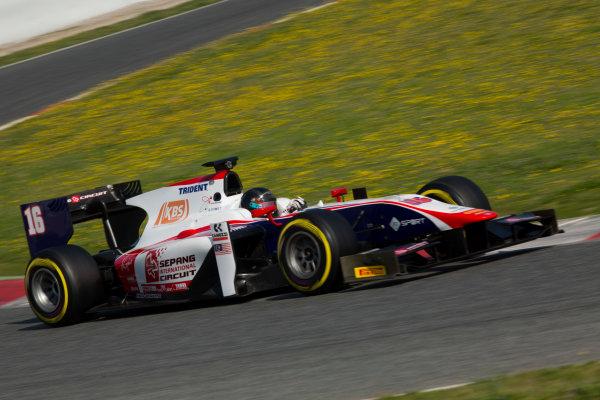 Circuit de Barcelona Catalunya, Barcelona, Spain. Wednesday 15 March 2017. Nabil Jeffri, (MAS, Trident). Action.  Photo: Alastair Staley/FIA Formula 2 ref: Digital Image 585A9577